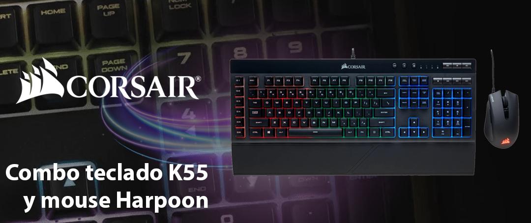 Combo Corsair teclado K55 y mouse Harpoon